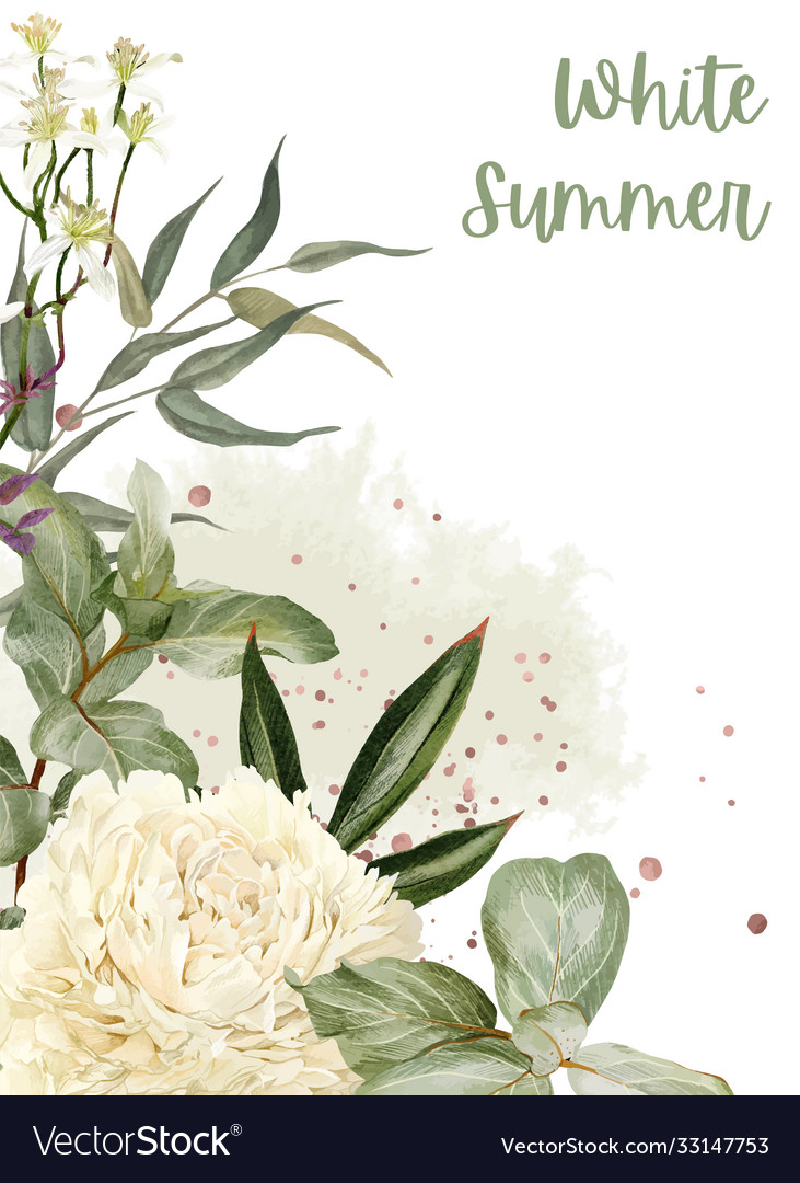 Lush peonies flowers and rose gold floral elemets