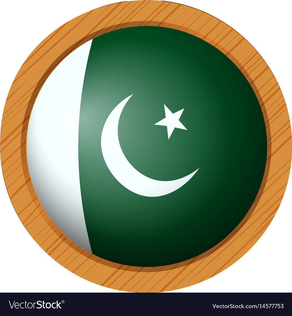 pakistan flag on round badge royalty free vector image