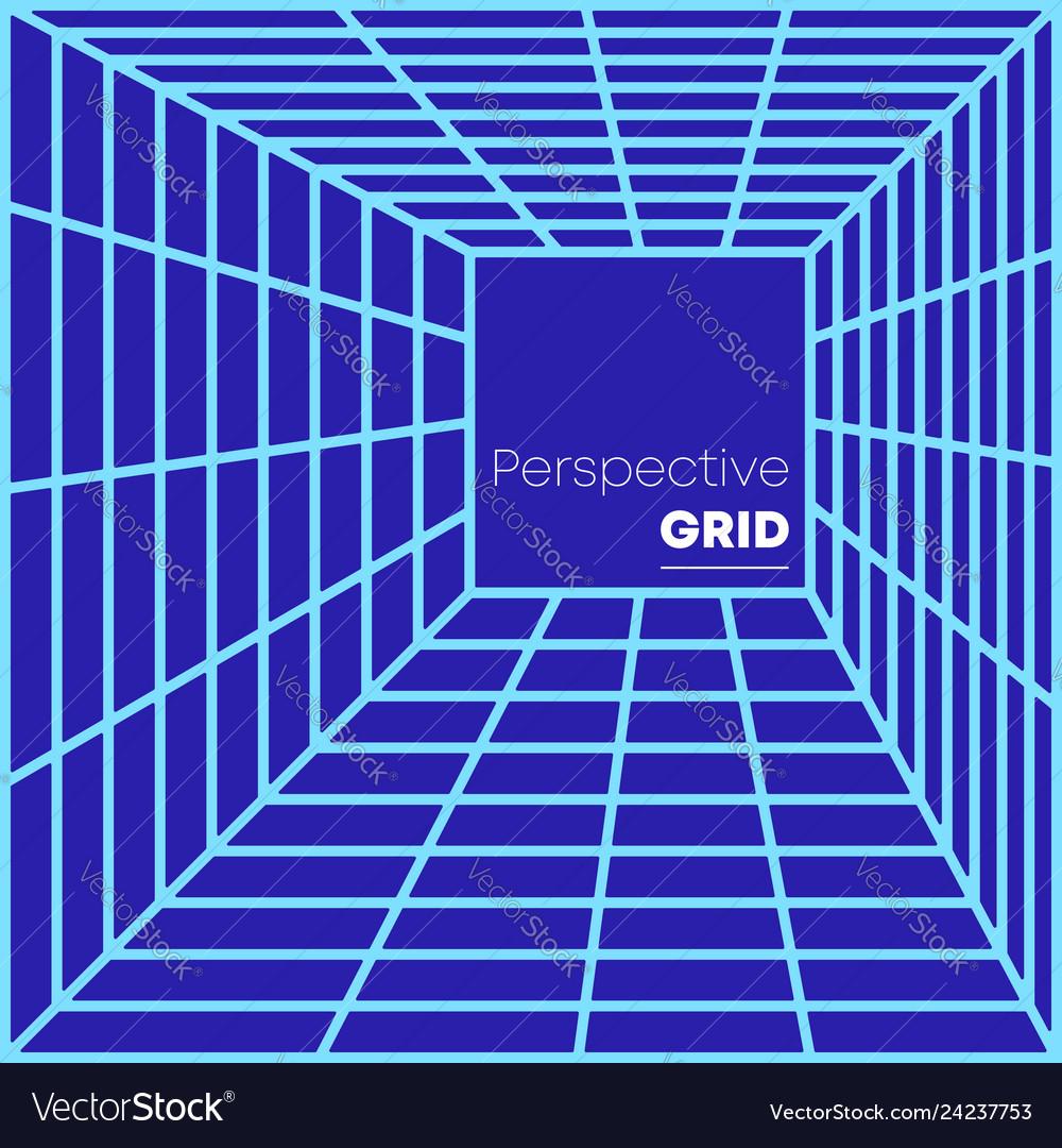 Retro perspective grid background minimal design