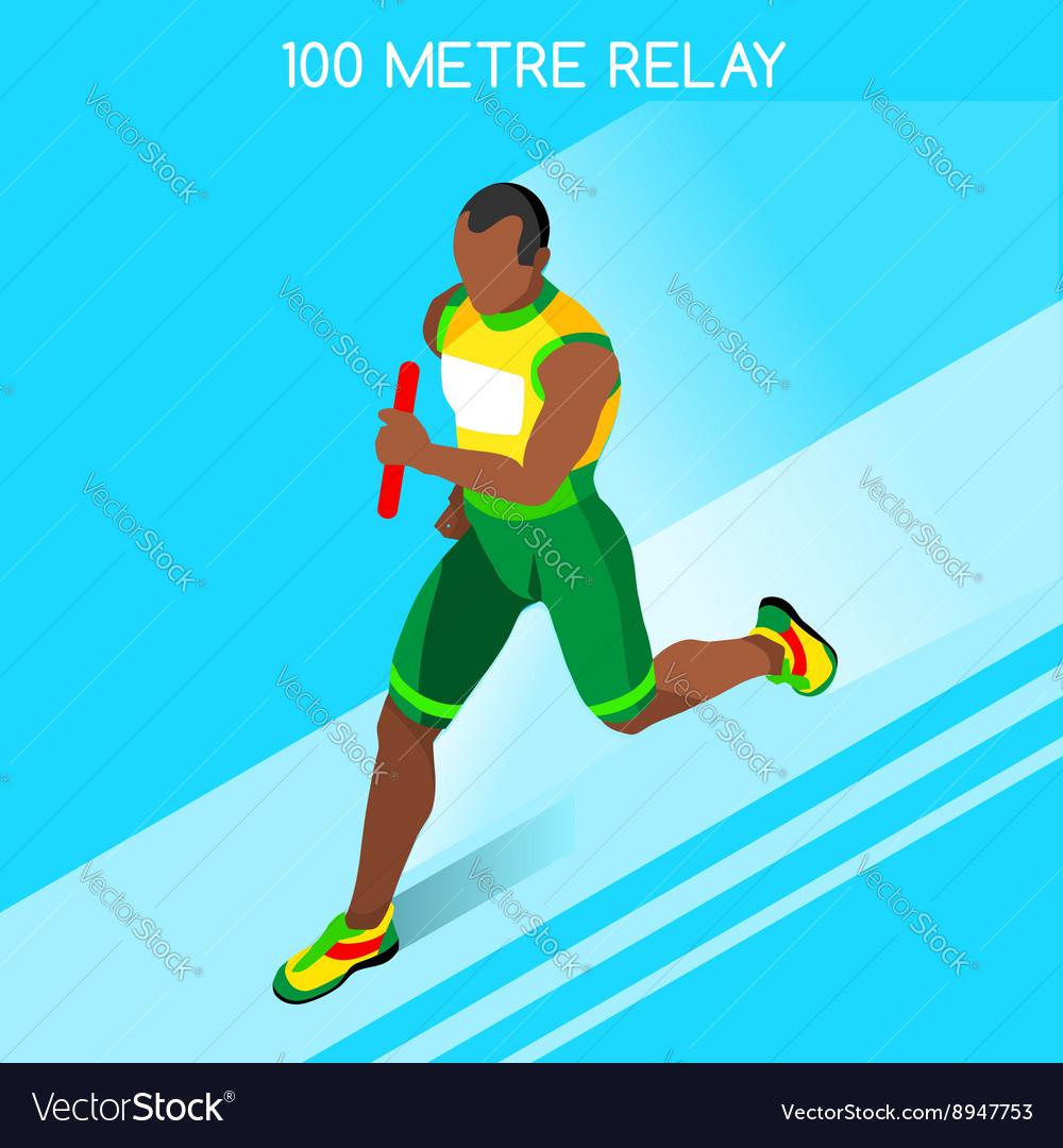 Running Relay 2016 Summer Games 3D Isometric