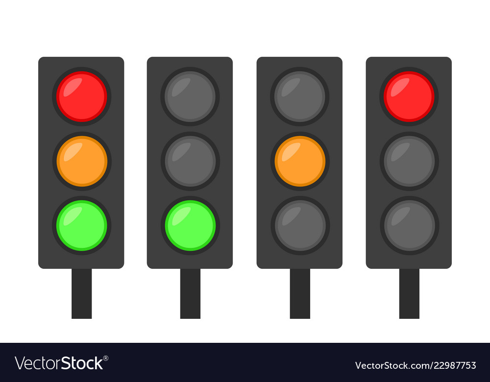 Set of traffic lights icon red green and orange