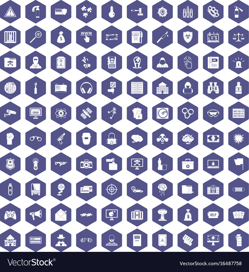 100 hacking icons hexagon purple