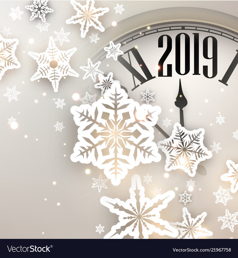 beige 2019 new year background with clock vector image