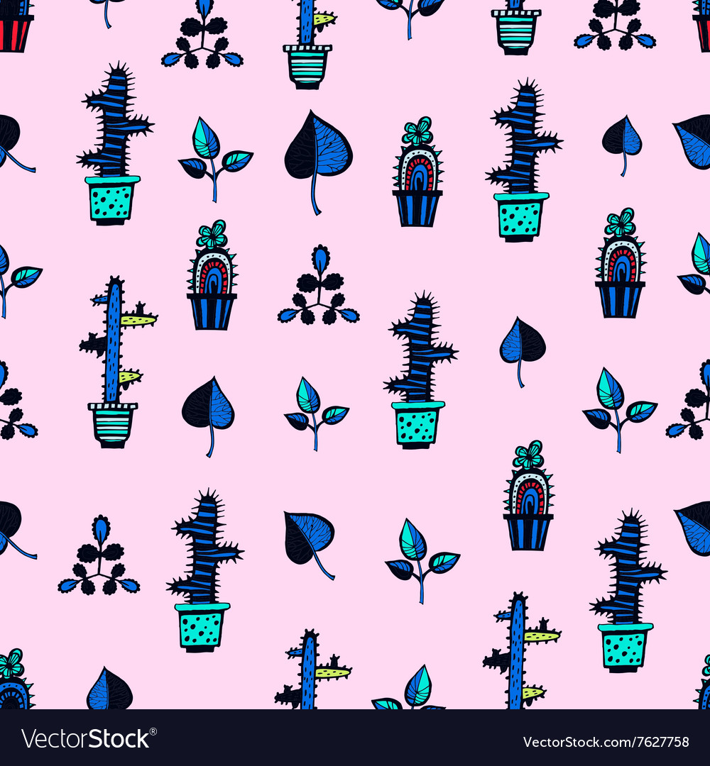 Cactuses pattern with leaves