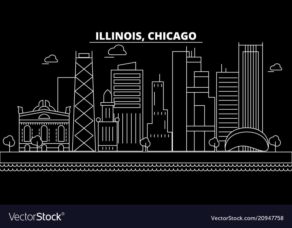 Chicago silhouette skyline usa - chicago
