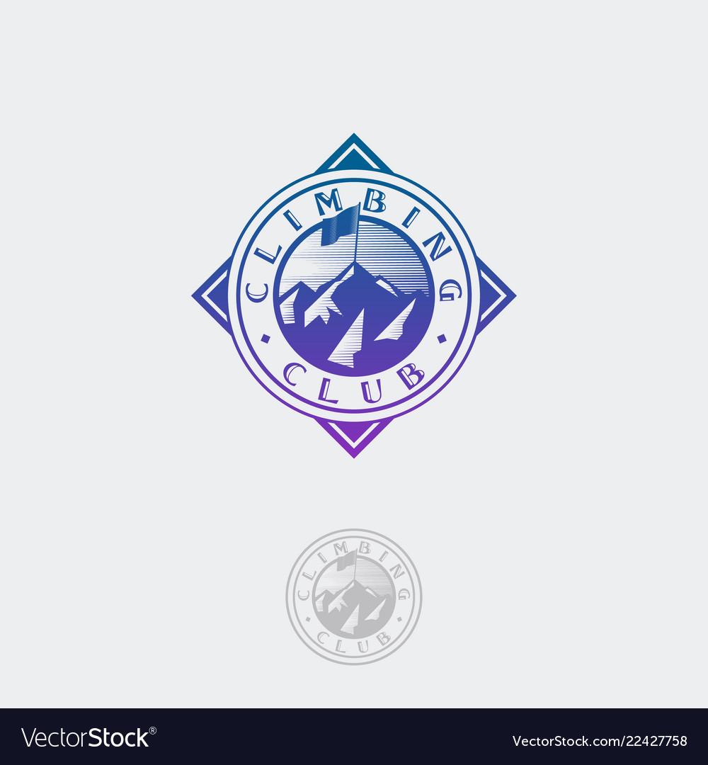Climbing club flag peaks logo circle