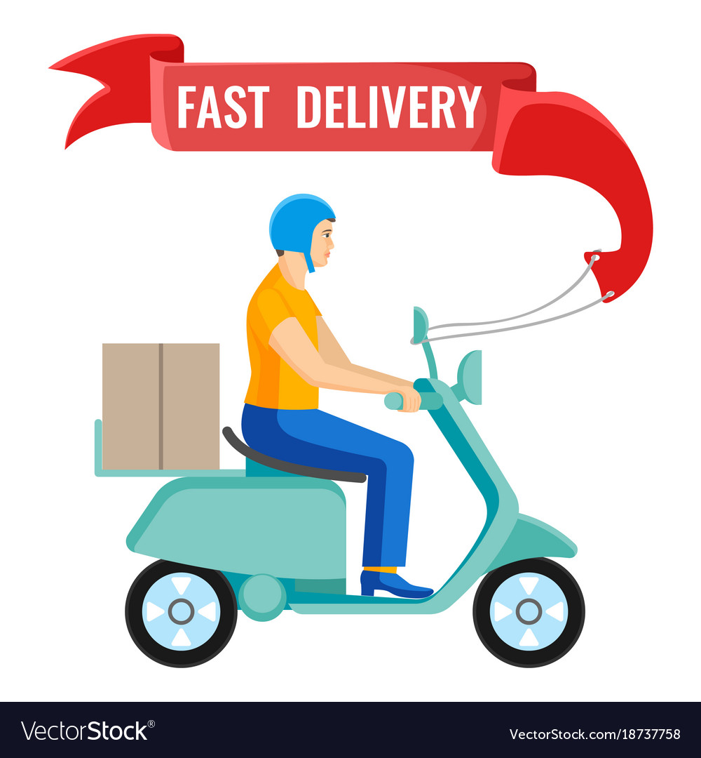fast delivery man on moped on royalty free vector image
