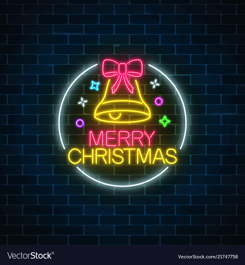 Glowing neon christmas sign with christmas bell