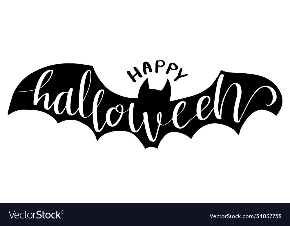 Halloween lettering on bat for halloween party vector