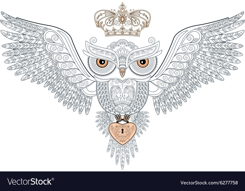 Owl tattoo with crown and heart