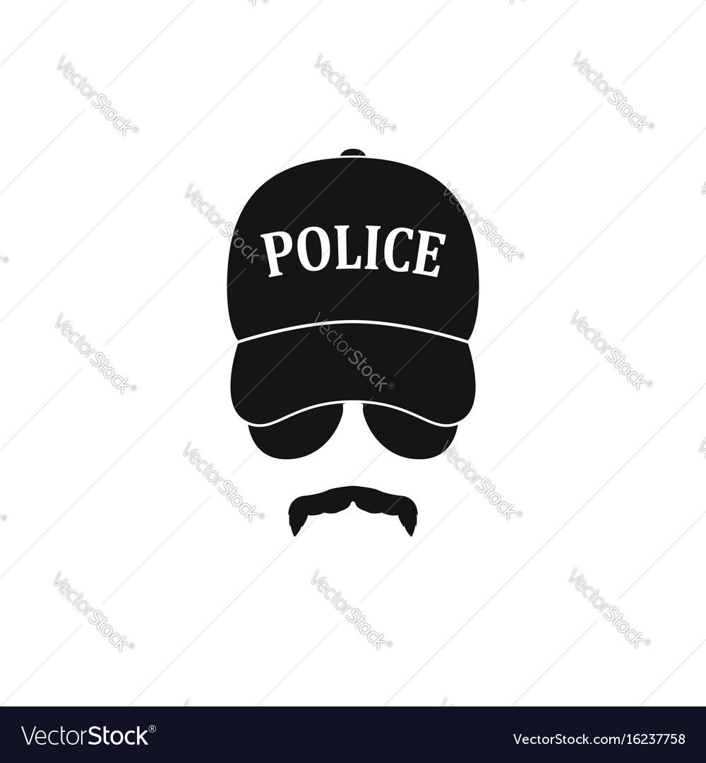 Policeman in baseball cap and sunglasses vector image
