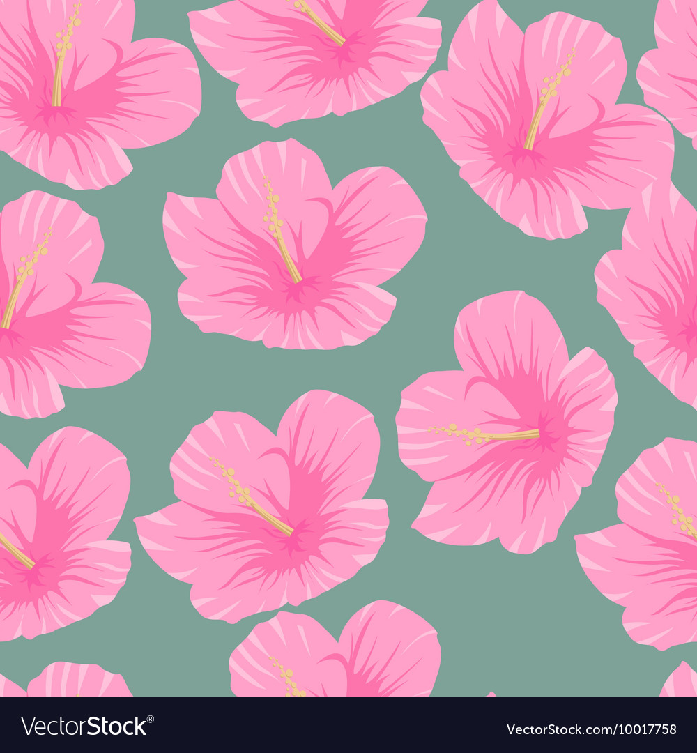 Seamless Pattern Of Tropical Pink Hibiscus Flowers