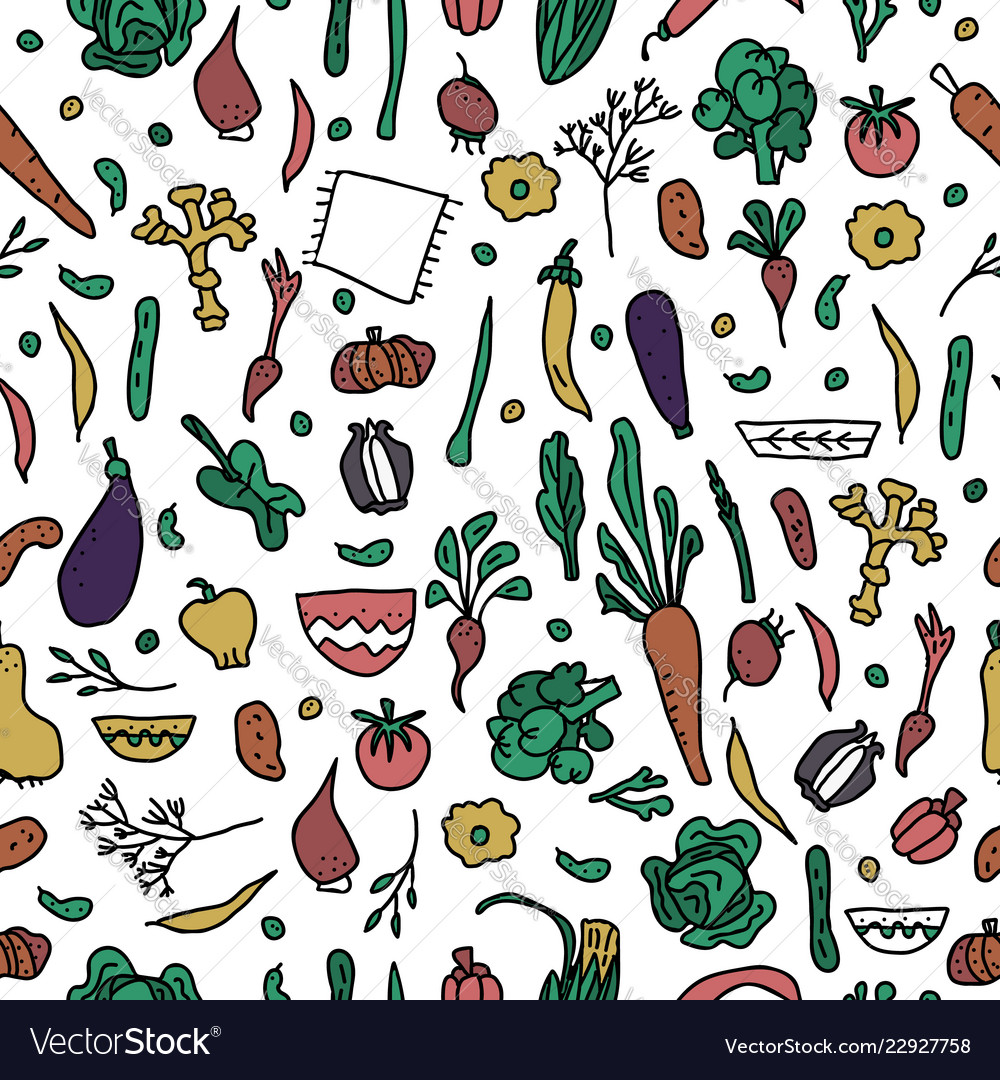 Seamless pattern of vegetables doodle