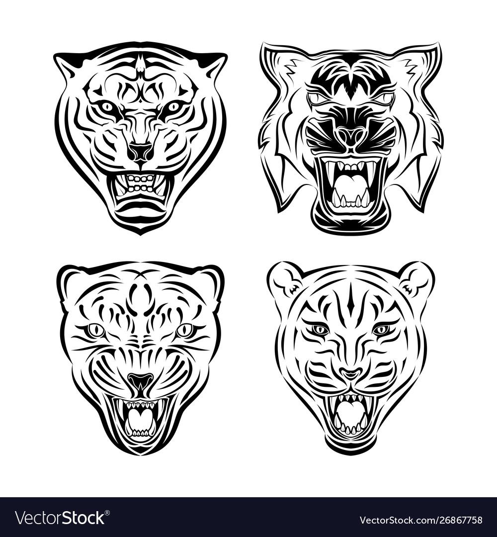 Set tiger head