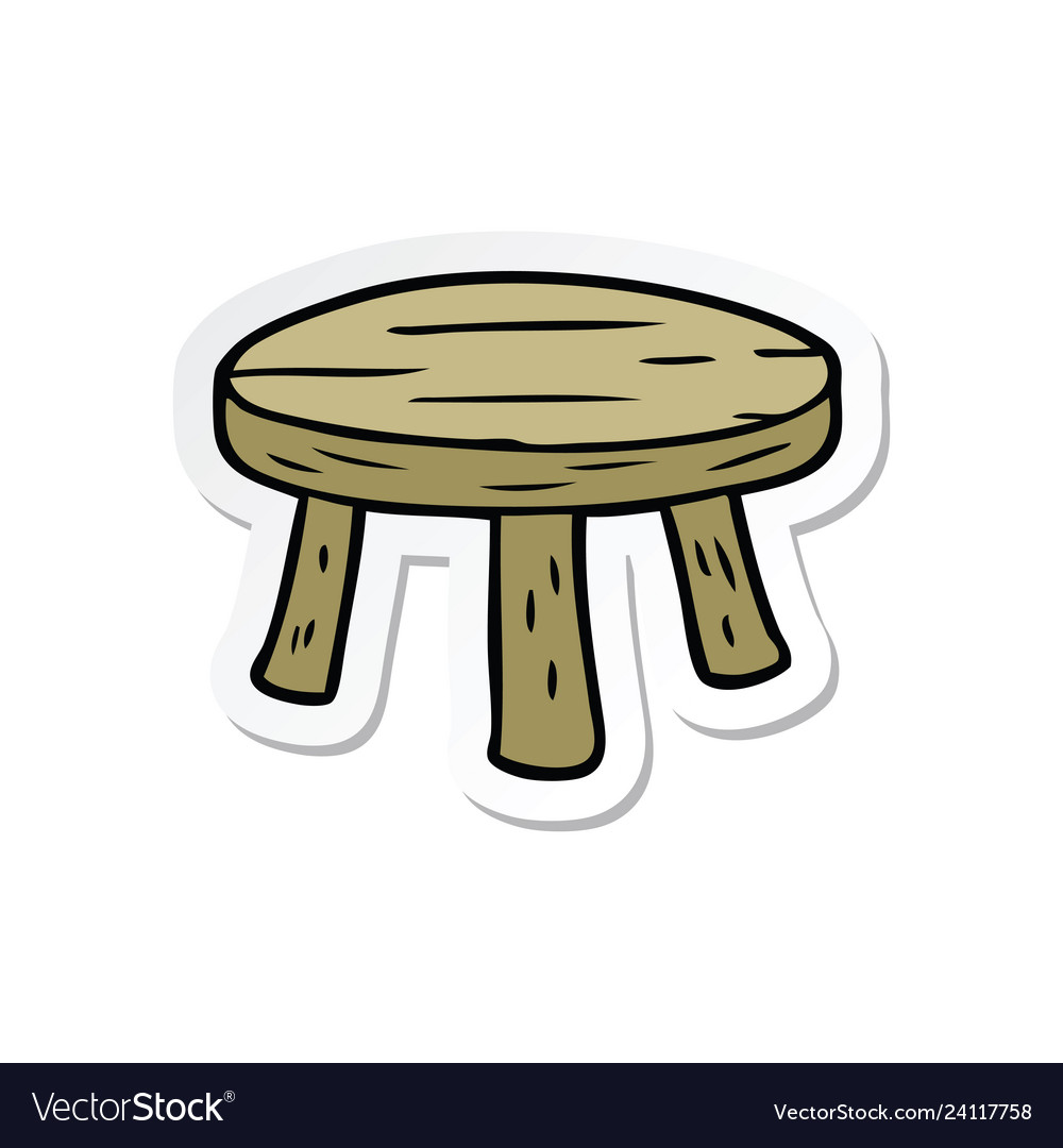 Astounding Sticker Of A Cartoon Small Stool Vector Image Caraccident5 Cool Chair Designs And Ideas Caraccident5Info