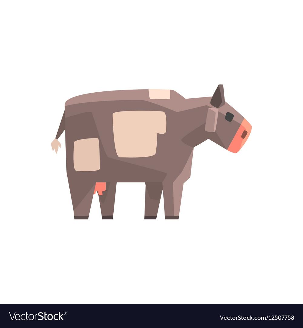 Toy Simple Geometric Farm Grey Cow Browsing Funny