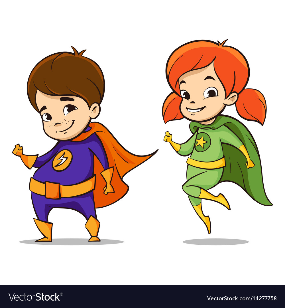 Two happy super hero kid Royalty Free Vector Image