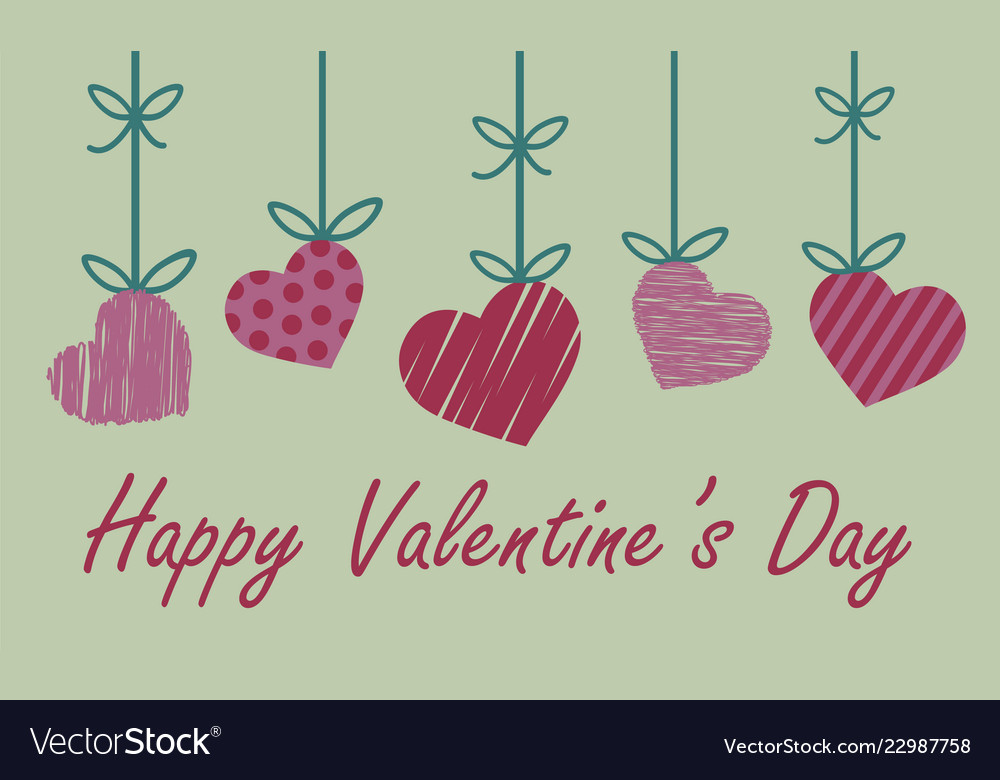 Valentine greeting card with red and pink heart