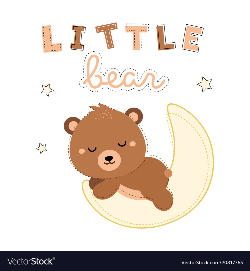 Adorable little bear sleeping on moon