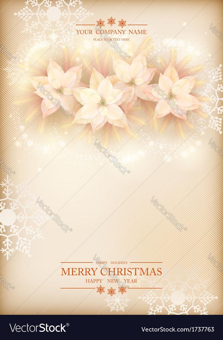 Christmas Poinsettias Celebration Background vector image