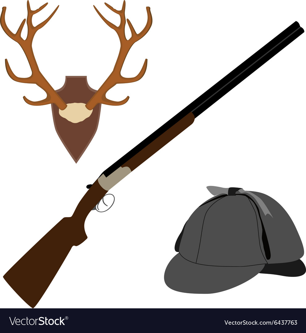 Deer horns rifle and hat