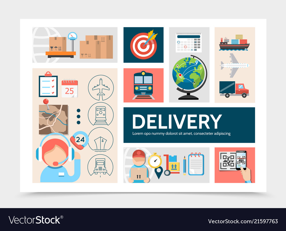 Flat global logistic infographic template