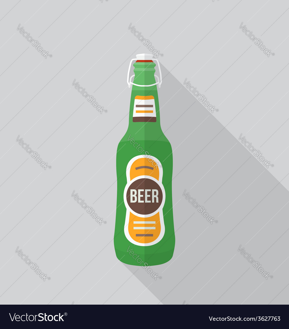 Flat style beer bottle icon with shadow