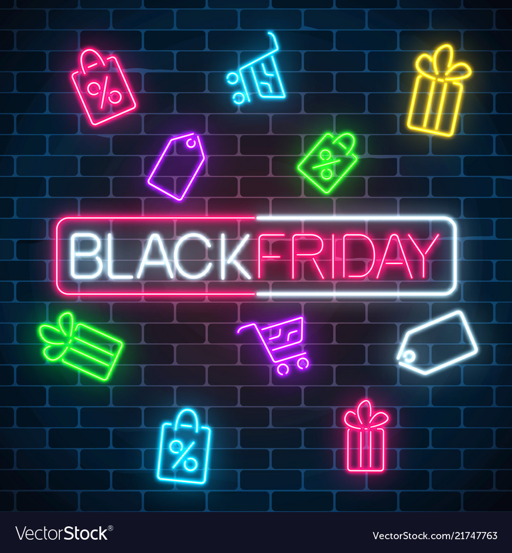 Glowing neon sign of black friday sale in