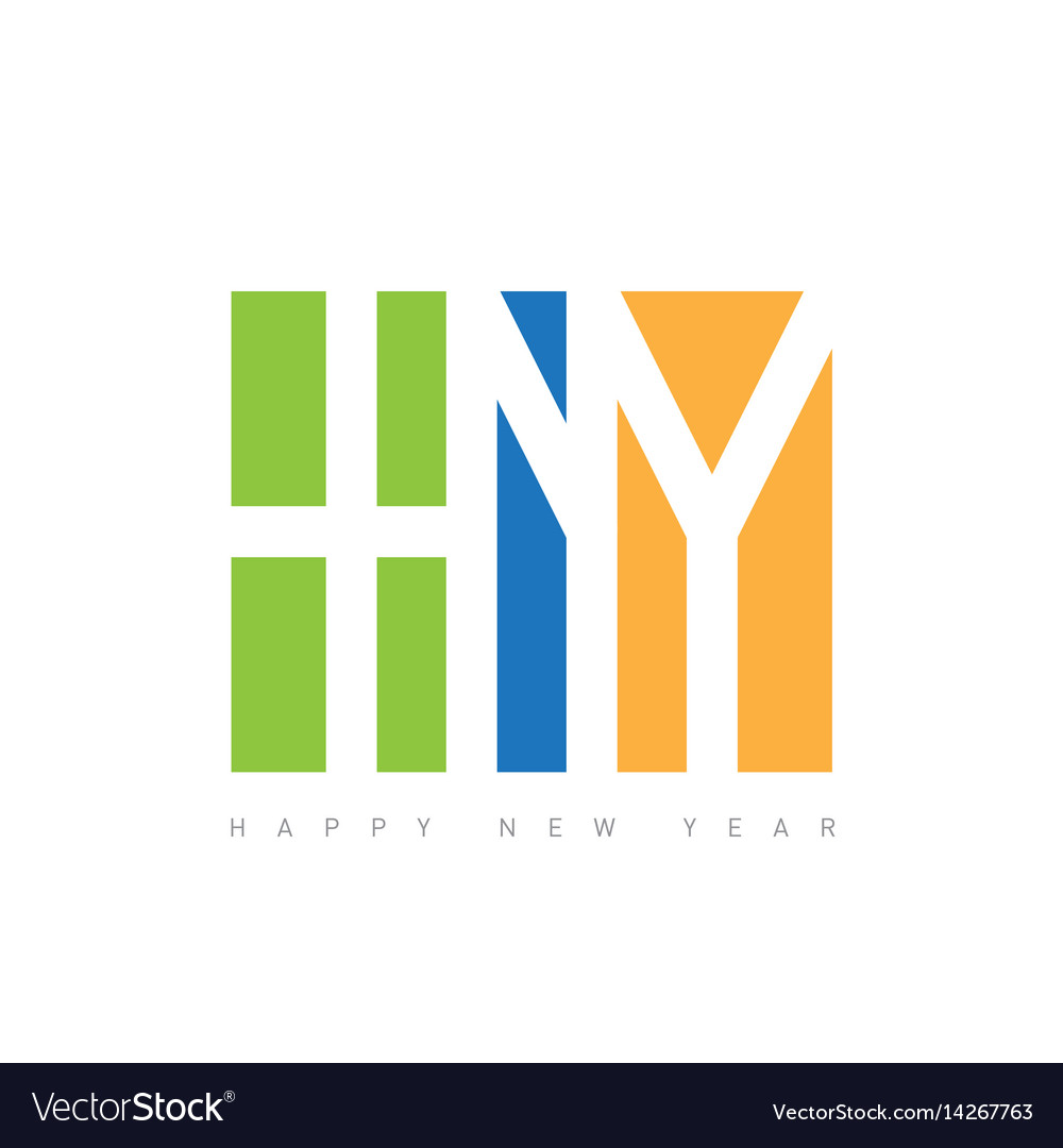 Happy new year text design greeting with le vector image
