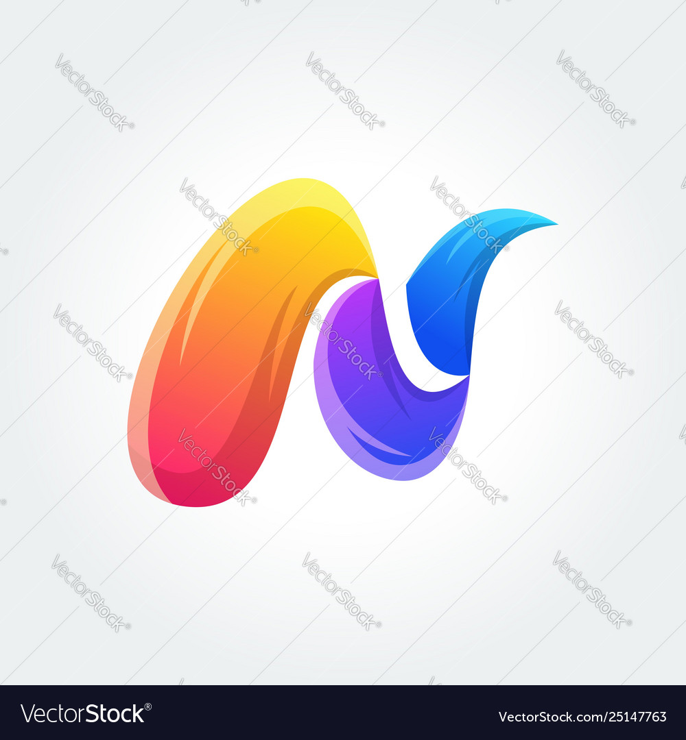 N colorful logo design icon concept template