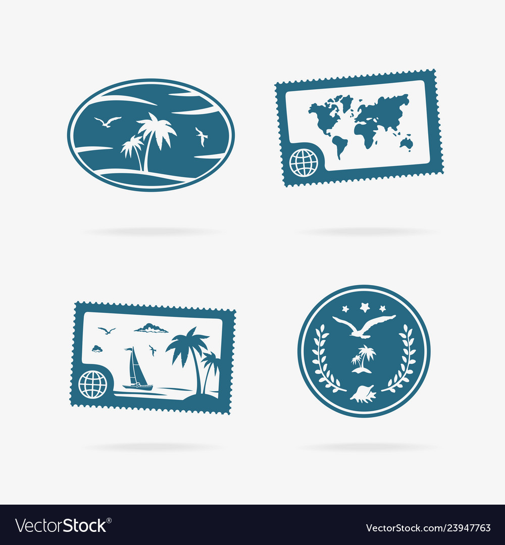 Set of tropical vacation icons