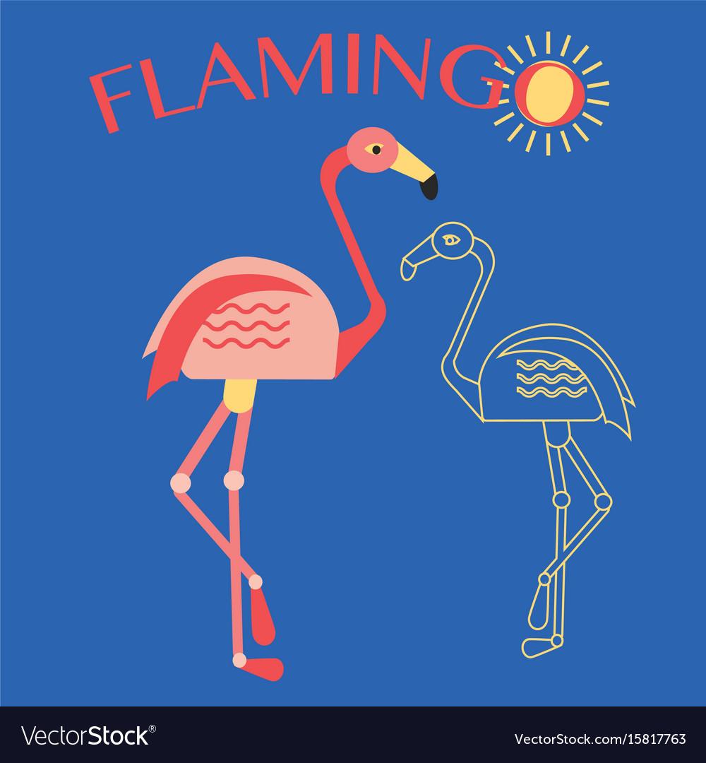 Stylish flat design flamingo icon