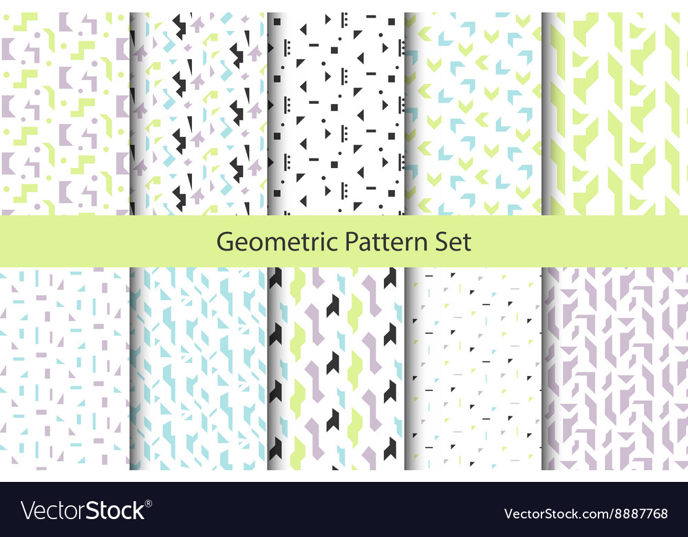 Abstract geometric shapes white pattern set