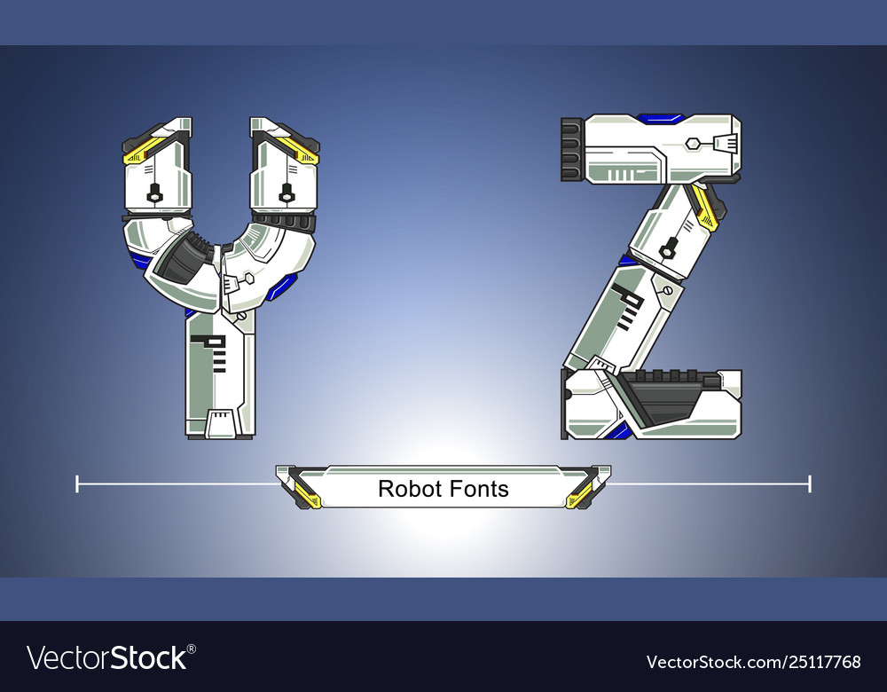 Alphabet robot futuristic technology style in a