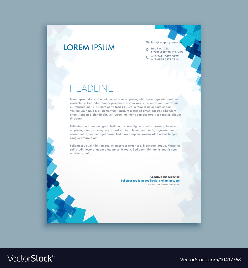 business style corporate letterhead design vector image