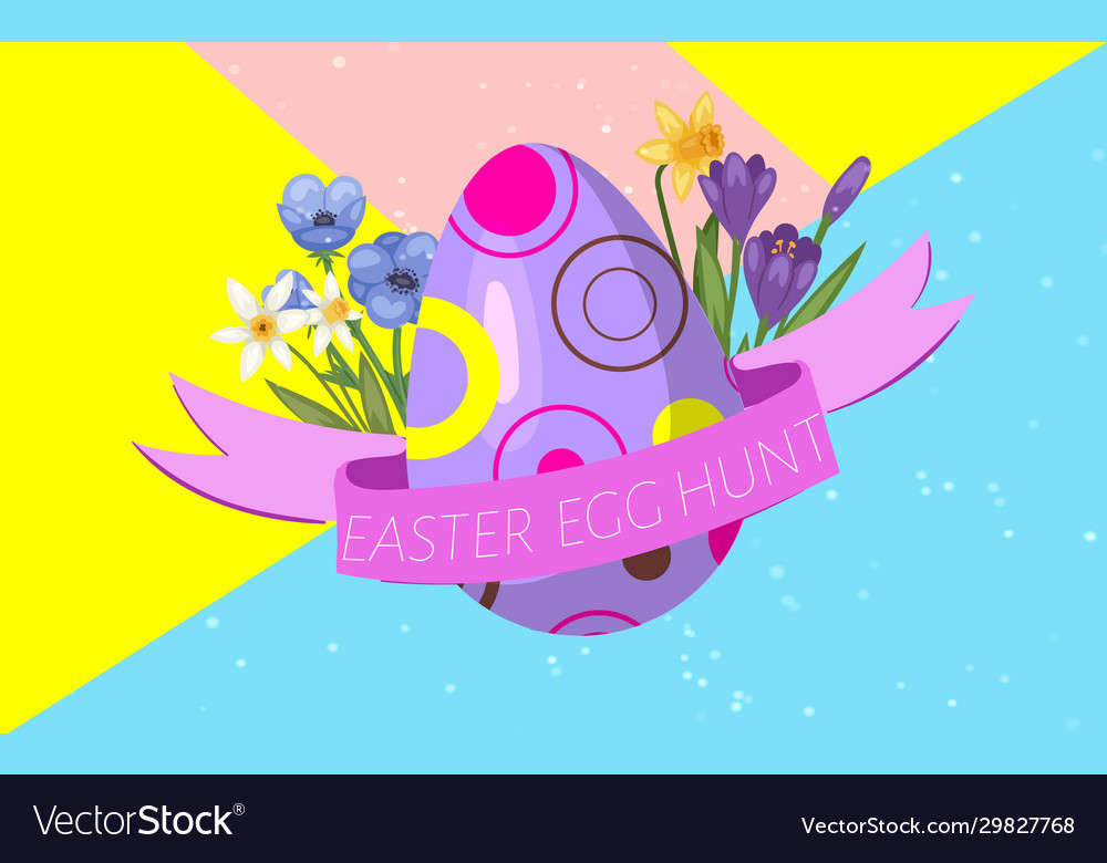 Easter egg hunt with decorated egg ribbon and