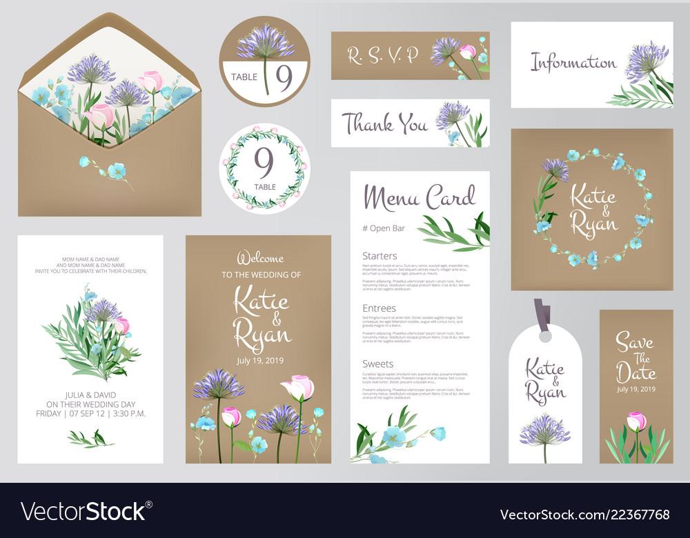 Floral invitation cards beautiful wedding love