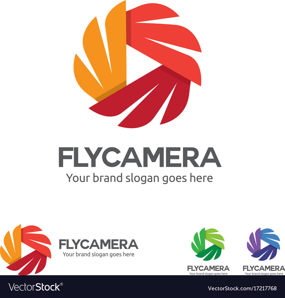 Fly camera logo camera with wing and play button