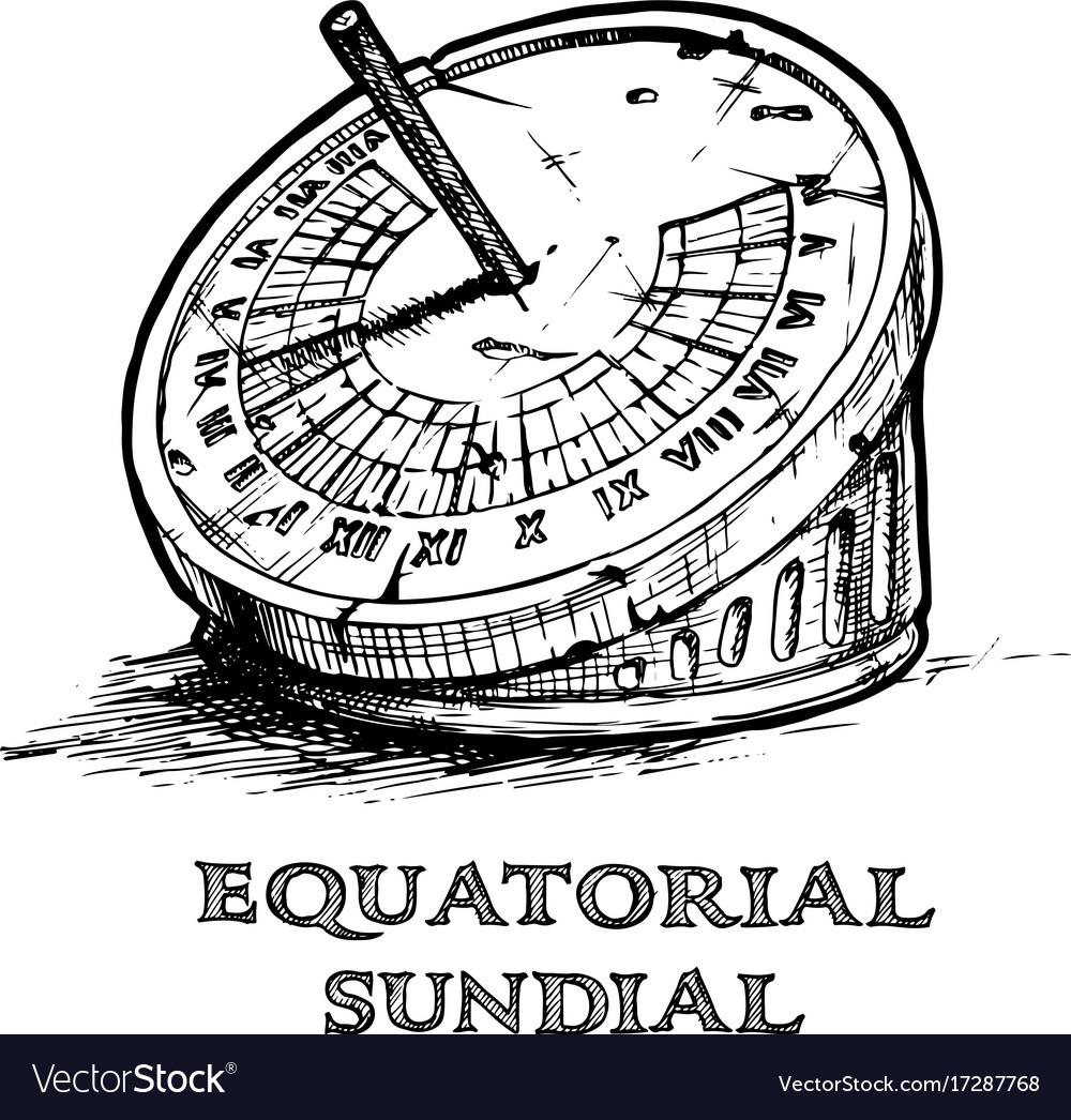 Hand drawn of sundial Royalty Free Vector Image