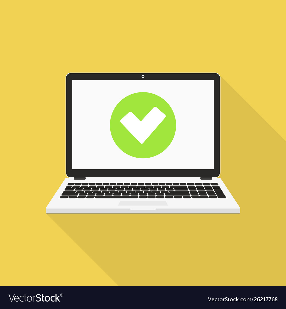 Laptop with checkmark flat design