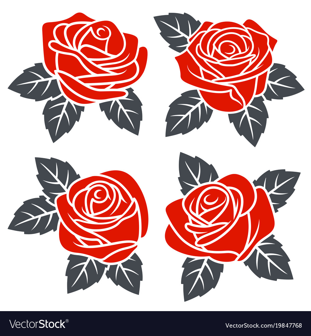 Roses set 002 vector image