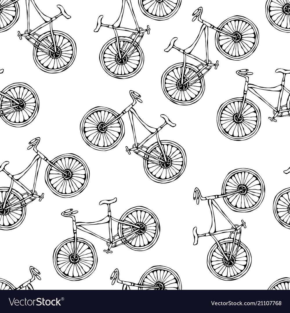 Seamless pattern of bicycles endless bike