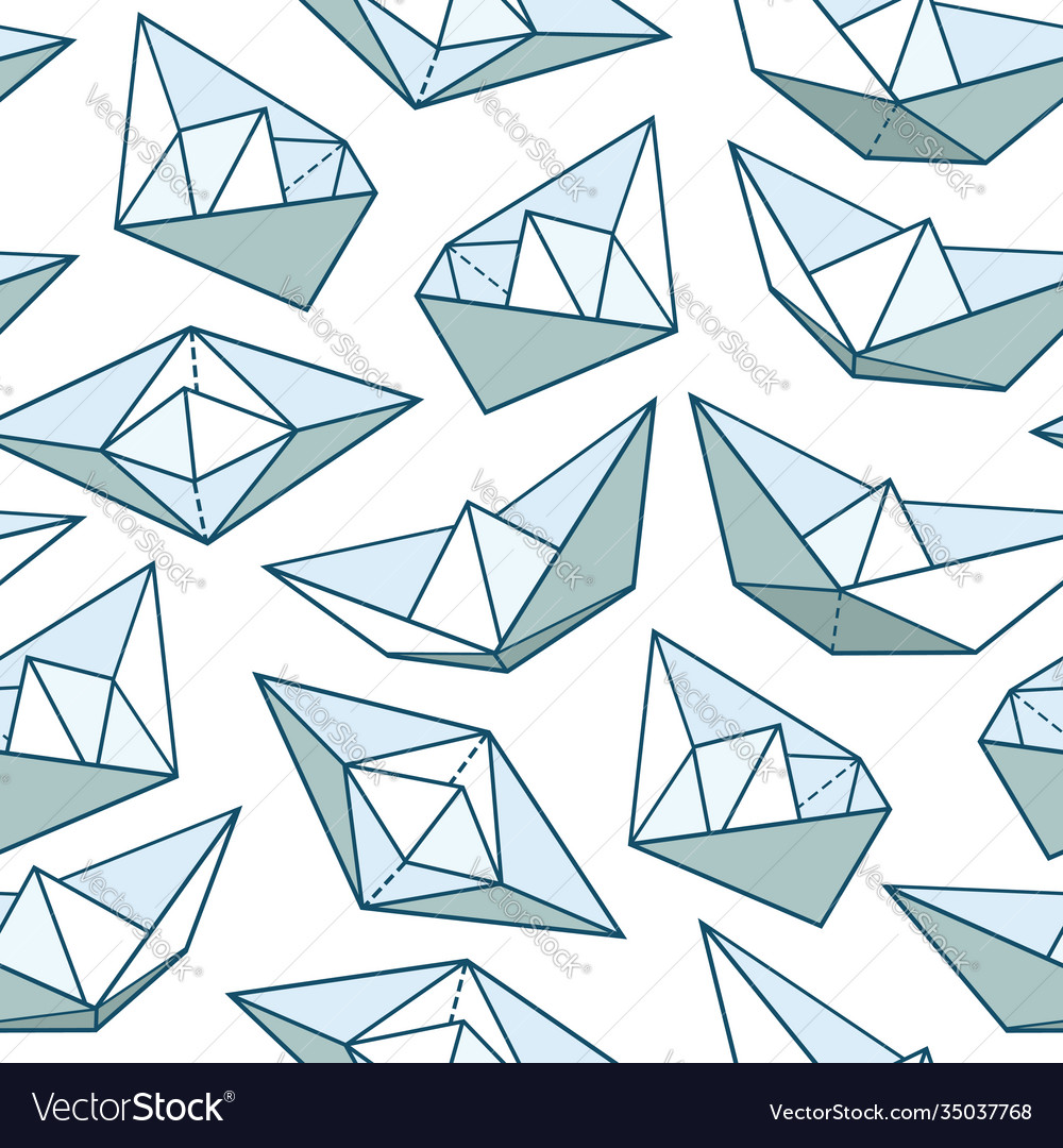 Seamless pattern with paper ships