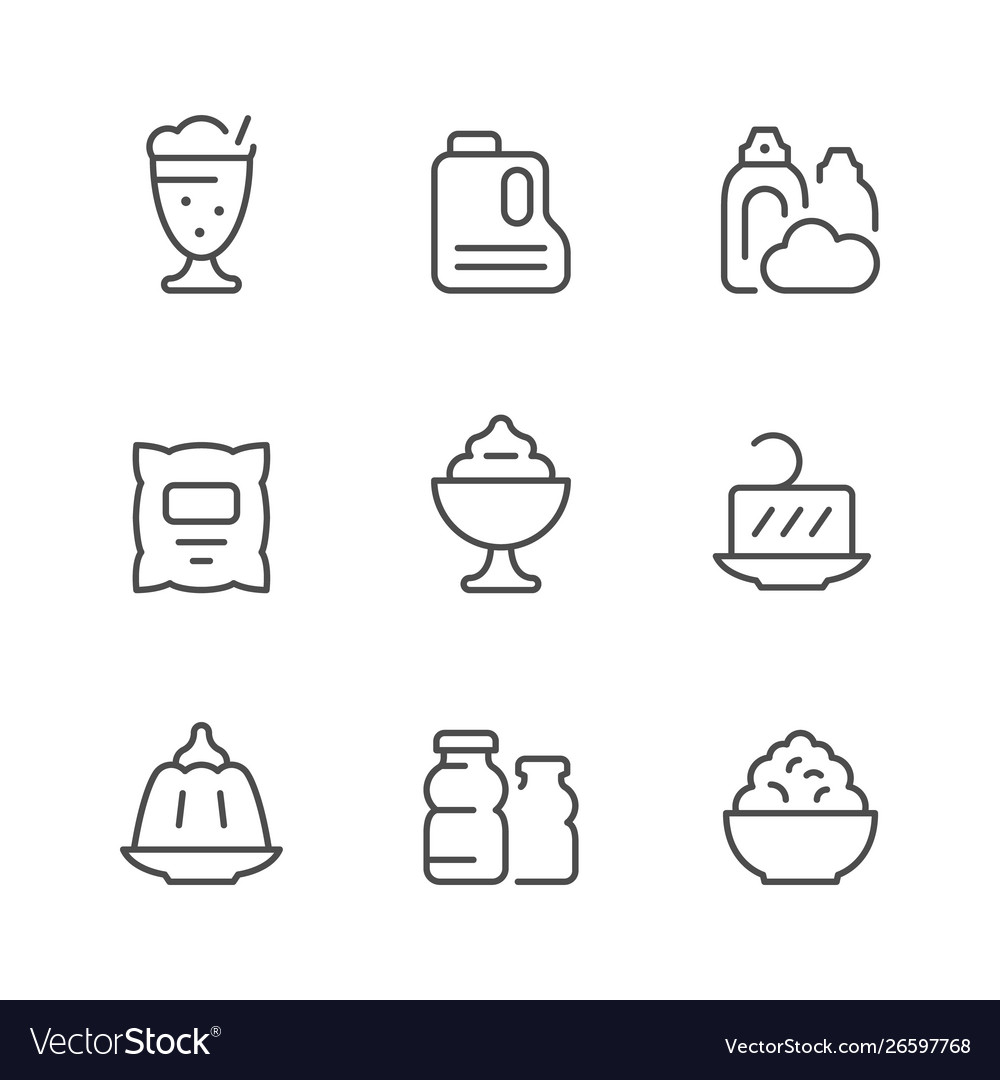 Set line icons dairy products