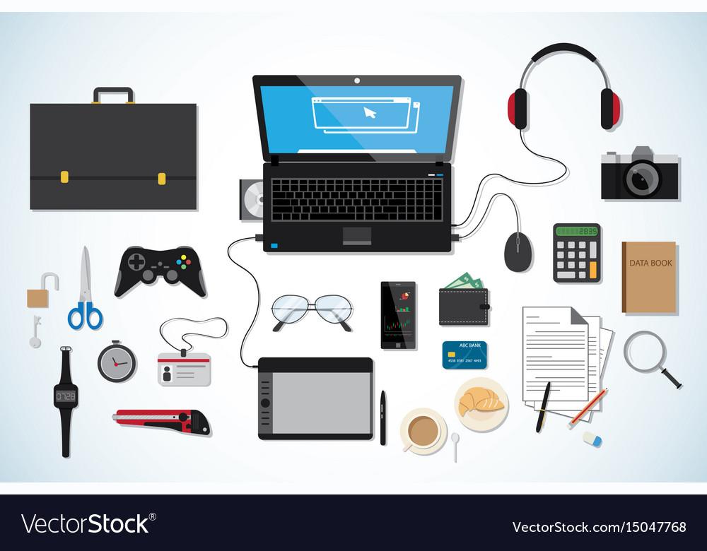Top view business desk workplace concept black