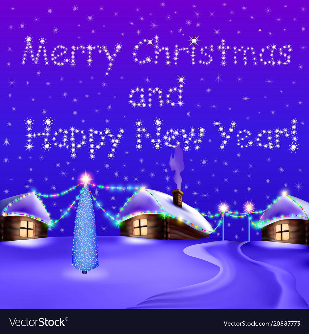 A christmas card with houses overnight and a