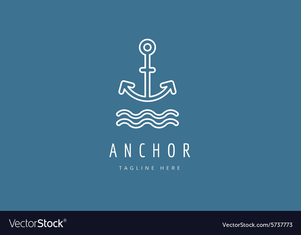 Anchor logo icon Sea vintage or sailor