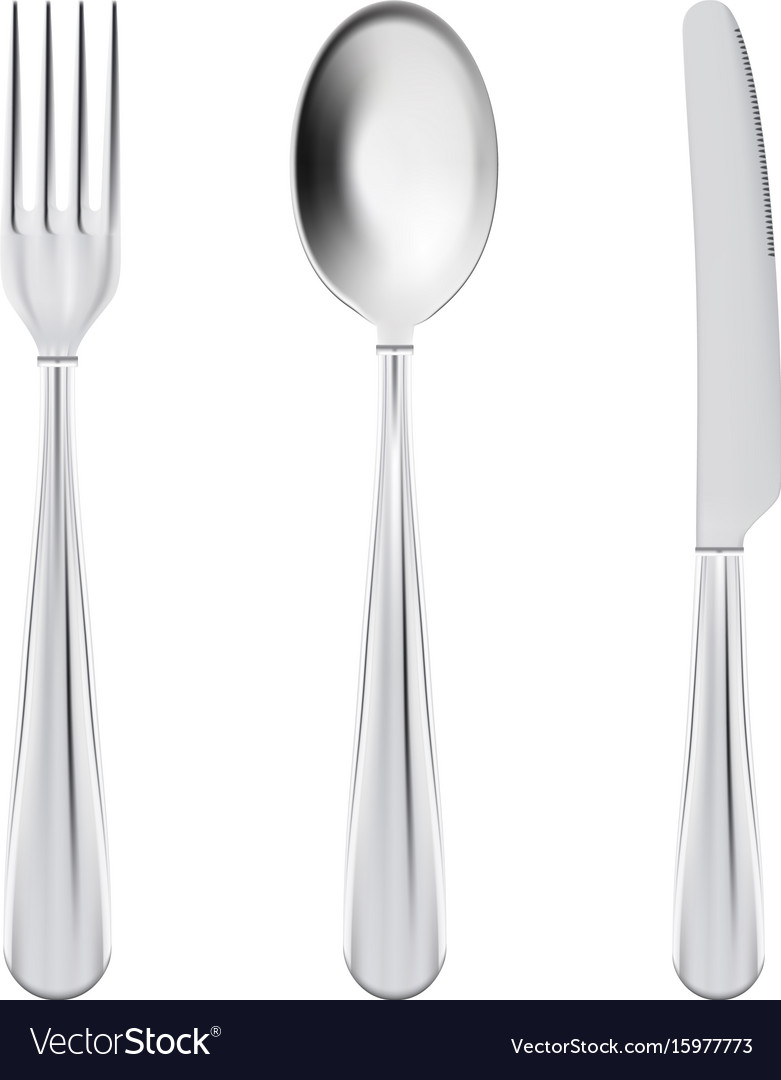 Cutlery set - fork spoon and knife isolated on a vector image