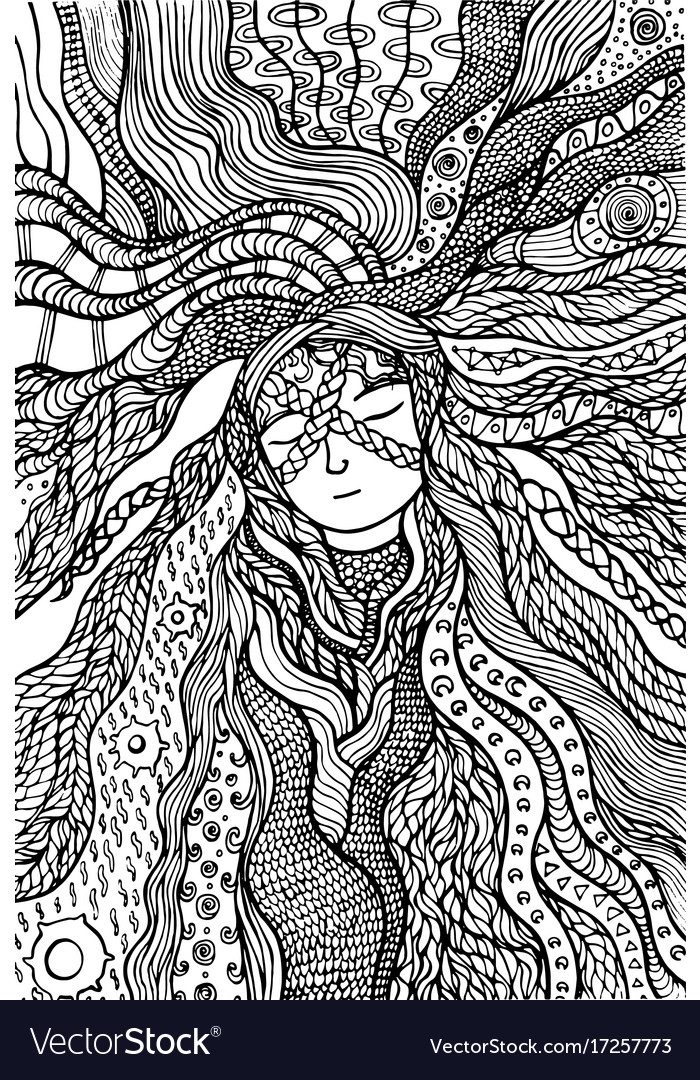 Fantasy girl hair coloring page hand drawn doodle Vector Image