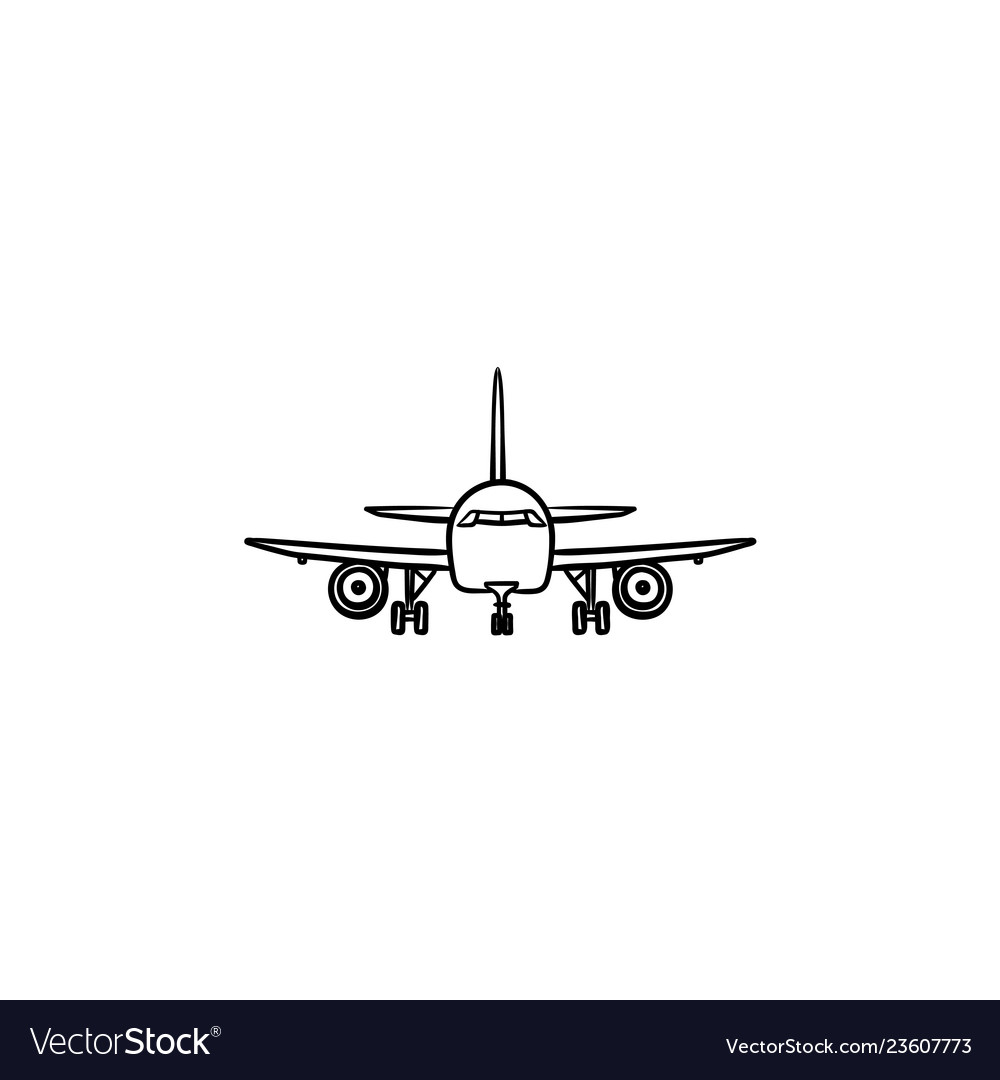 Front view of airplane hand drawn outline doodle